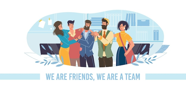 벡터 만화 플랫 캐릭터 친구들은 서로 껴안고 행복하고, 친근한 팀 젊은이들 - 커뮤니케이션, 감정, 우정, 사회적 개념