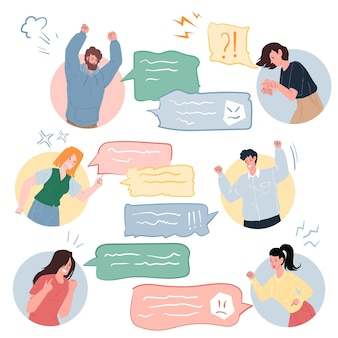 Vector cartoon flat characters quarreling using text messages in online conversation,different persons and poses.communication,anger management and social behavior concept,web site banner ad design