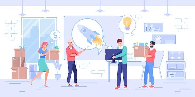 벡터 만화 플랫 캐릭터는 새로운 비즈니스 시작을 시작합니다. 성공적인 직원 팀, 행복한 사람들은 새로운 사무실 직장, 새로운 직업, 아이디어, 기회, 전문 워크플로, 웹 사이트 배너 개념을 갖추고 있습니다.