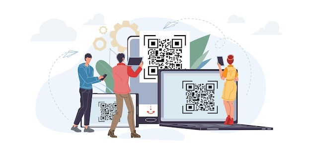 Vector cartoon flat characters using mobile smartphone,tablets with empty blank screen scanning qr codes - online shopping,social media,internet surfing concept for web online site design