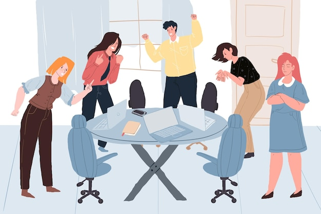 Vector cartoon flat colleagues characters in aggressive mood quarreling at meeting,different persons and poses.communication,anger management and social behavior concept,web site banner ad design