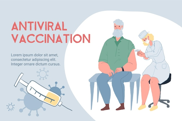 ベクトル漫画フラットドクターはフェイスマスクで高齢患者のキャラクターにワクチンを接種します-コロナウイルスcovid感染症の予防、診断、治療と治療の医療概念、ウェブサイトのバナー広告デザイン