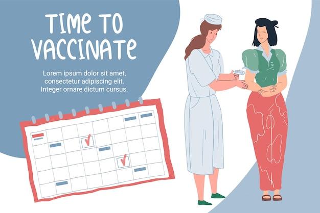 ベクトル漫画フラットドクターは予防接種スケジュールに従って患者のキャラクターにワクチン接種します-コロナウイルスcovid感染症の予防、治療と治療の医療概念、ウェブサイトのバナー広告デザイン