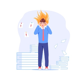 Vector cartoon flat employee character at work deadline scene.unhappy upset employee office worker in panic,overwork in deadline stress situation-workflow optimization,web site banner concept