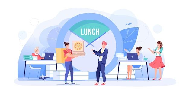음식 휴식 시간에 벡터 만화 플랫 직원 캐릭터. 점심 시간에 직원 사무실 직원, 동료는 피자 배달 주문, 휴식, 대화, 의사 소통 워크플로 상황 웹 사이트 배너 개념을 받습니다.