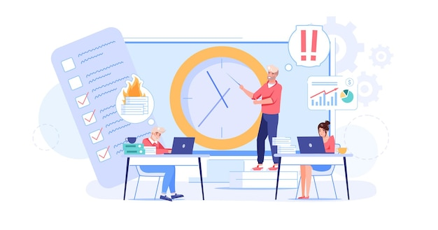 Vector cartoon flat employees characters at work deadline scene.employee office workers in hurry,try not late,overwork in deadline stress situation-office workflow,web site banner concept