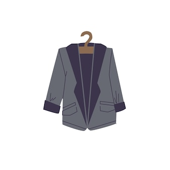 Vector cartoon flat fashionable blazer on clothes hanger.new trendy beautiful apparel isolated on empty background-clothing store,shopping and fashion concept,web site banner ad design