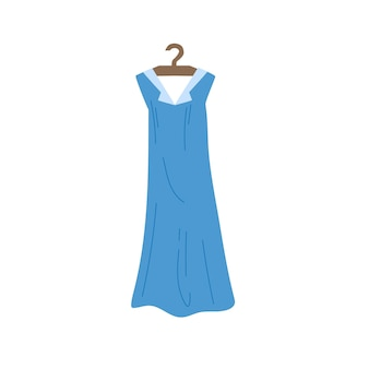 Vector cartoon flat fashionable dress on clothes hanger.new trendy beautiful apparel isolated on empty background-clothing store,shopping and fashion concept,web site banner ad design