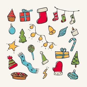ベクトル漫画フラットイラスト。装飾用のクリスマス落書きアイコンのセットです。クリスマスのテーマ。背景の装飾。
