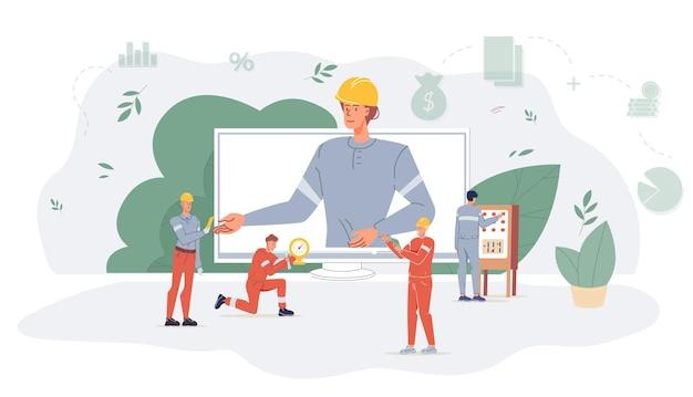 Векторный мультфильм плоских промышленных рабочих персонажей на работе по добыче нефтяного газа. босс на экране компьютера и рабочие планируют новое строительство - разведка нефтяного газа, добыча, переработка, концепция баннера веб-сайта