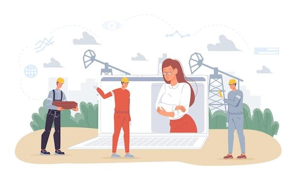 Векторный мультфильм плоских промышленных рабочих персонажей на нефтедобывающих работах. босс на экране компьютера и рабочие, планирующие новое строительство - разведка нефти, добыча, переработка, концепция баннера веб-сайта
