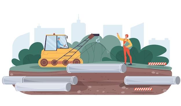Векторный мультфильм плоские промышленные рабочие персонажи на строительных работах трубопровода. инженеры, строящие новый трубопровод, транспортировка нефти и газа, веб-сайт баннерной рекламной концепции
