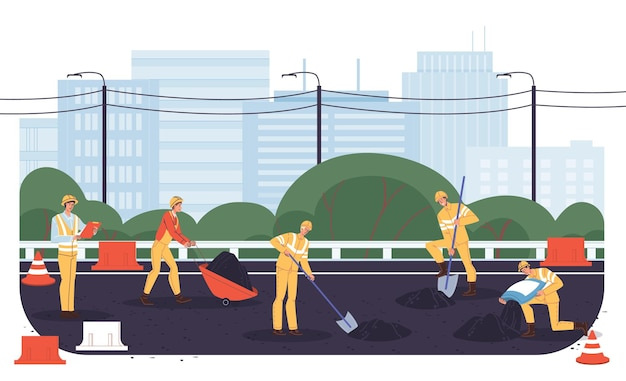Векторный мультфильм плоские промышленные рабочие персонажи на дорожно-строительных работах. инженеры ремонтируют, строят новую дорогу, закладывают асфальт-транспортную технику, городское планирование, веб-сайт баннерной рекламной концепции