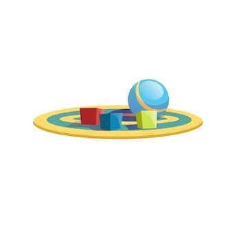 ベクトル漫画フラットキッズキューブブロックと空の背景に分離された色のカーペット上のボール-健康な家族と幸せな子供時代、子供のおもちゃ屋の品揃えのコンセプト、ウェブサイトのバナー広告デザイン