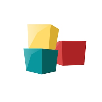 벡터 만화 플랫 아이 장난감 큐브 블록은 빈 배경-건강한 가족과 행복한 어린 시절, 어린이 장난감 매장 구색 개념, 웹 사이트 배너 광고 디자인에 격리되어 있습니다.