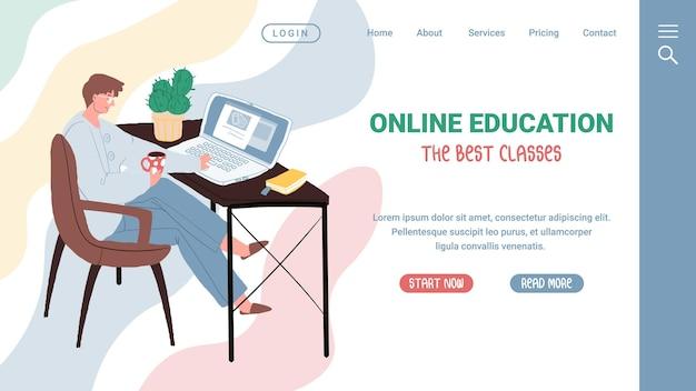 Векторный мультфильм плоский мужской персонаж, берущий образовательный класс онлайн. счастливый человек человек изучает веб-курс в спокойной, комфортной обстановке в уютном кресле у себя дома. шаблон концепции веб-сайта целевой страницы