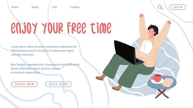 Векторный мультфильм плоский менеджер офисный работник характер откладывая на рабочем месте. ленивый плохой сотрудник слушать музыку прокрастинация, производительность труда, концепция баннера веб-сайта организации рабочего процесса