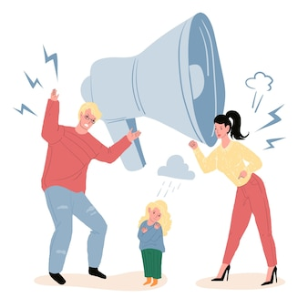 Vector cartoon flat parents characters quarreling,while upset unhappy child watching.healthy family relationships,emotions,social behavior and psychology concept,web site banner ad design