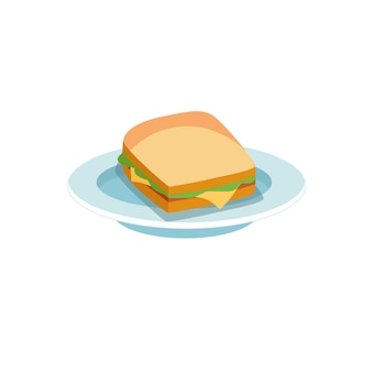Vector cartoon flat sandwich on plate isolated on empty background-balanced diet,healthy eating and food cooking concept,web site banner ad design