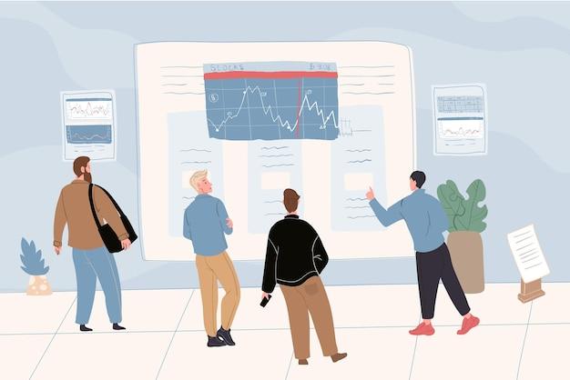 Векторный мультфильм плоские торговые символы бизнесмена на работе. финансовые аналитики-трейдеры, глядя на экран рекламного щита, исследуя, анализируя, обсуждая графики, рыночные котировки, цены на акции, индексы
