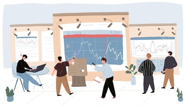 Векторный мультфильм плоские торговые символы бизнесмена на работе. финансовые аналитики-трейдеры, глядя на экраны рекламных щитов, исследуют, анализируют, обсуждают графики, рыночные котировки, цены на акции, индексы