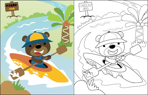 Vector cartoon funny bear on canoe