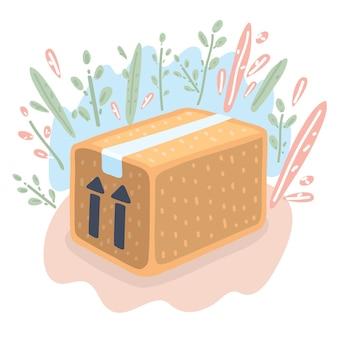 배달 상자의 벡터 만화 재미있는 그림 - 이 쪽이 위로 포장 기호입니다. 배송 기호 - 판지 제품. 꽃 장식. 모던한 스타일의 오브제+