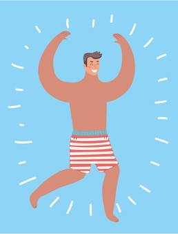 Vector cartoon funny illustration of smiling guy wearing swimming trunks. happy man run. human male character on isolated backgrund.