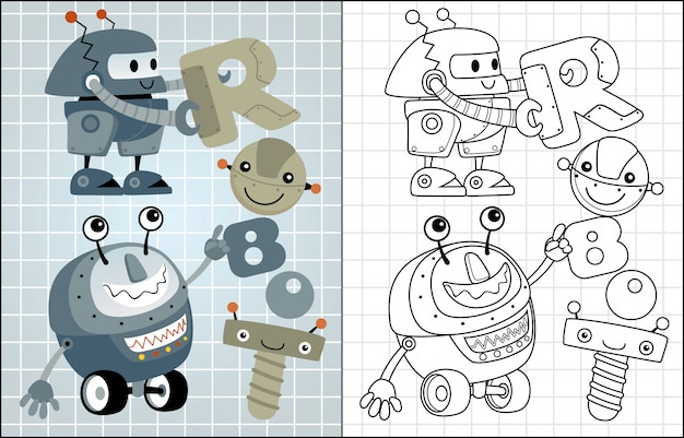 Vector cartoon of funny robots