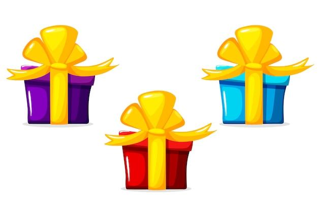 벡터 만화 선물 상자, 흰색 배경에 고립 된 개체
