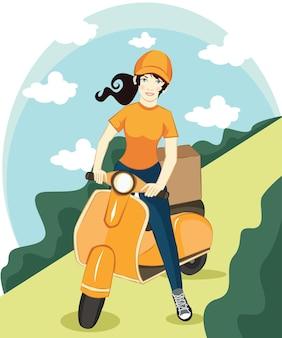벡터 만화 소녀 타고 스쿠터입니다. 배달 패키지 서비스 포스터 배경 템플릿에는 오토바이를 탄 여성 캐릭터가 미소로 패키지 상자를 배달합니다. 운송 회사 프로모션 디자인
