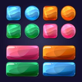 Bottoni di vetro del fumetto di vettore per l'interfaccia utente dell'interfaccia utente del gioco. design lucido, rotondo illustrazione elemento lucido