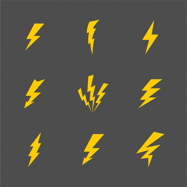 Vector cartoon gray lightnings and thunder set flat design isolated