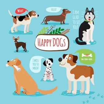 Vector cartoon hand drawn dogs with speech bubbles