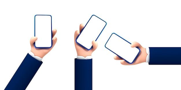 白い背景で隔離の白い空白の画面でスマートフォンを持っているベクトル漫画手。漫画のデバイスのモックアップ。