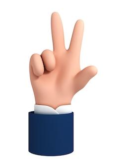 벡터 만화 손 흰색 배경에 고립 된 평화 제스처를 만드는. 두 개의 손가락을 보여주는 만화 캐릭터 사업가 손.