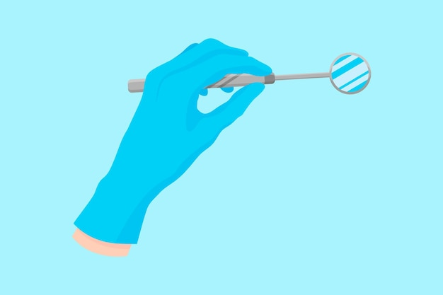 歯科用器具を保持する青い手袋をはめた歯科医のベクトル漫画の手:歯科検査用の金属ミラー