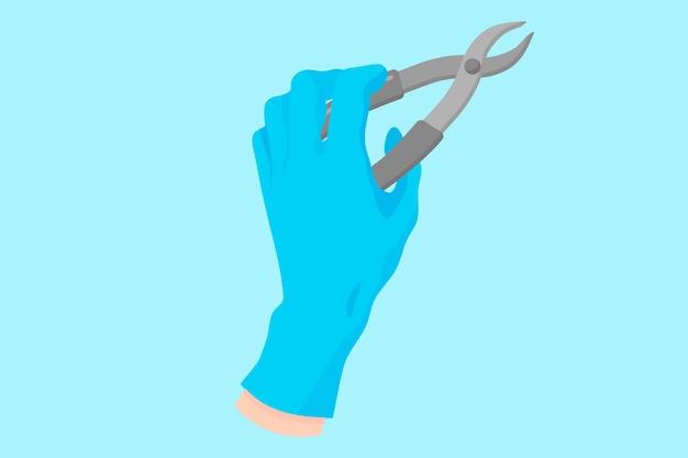 歯科用器具を保持する青い手袋をはめた歯科医のベクトル漫画の手:抜歯鉗子。