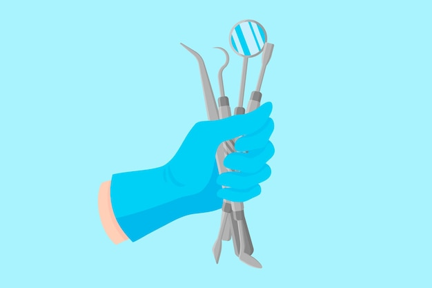 Векторный мультфильм рука стоматолога в синей перчатке, которая держит стоматологические инструменты: пинцет, зеркало, стоматологический зонд, шпатель