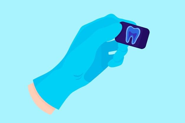 病気の検出のために歯の歯科用x線を保持する青い手袋の歯科医のベクトル漫画の手。