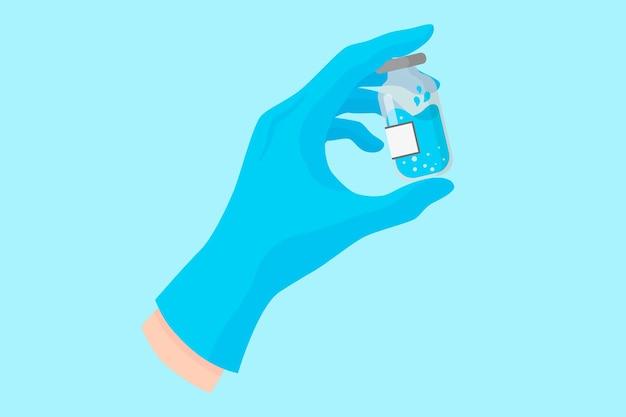 ワクチンや薬とガラス瓶を保持している青い手袋の歯科医のベクトル漫画の手。