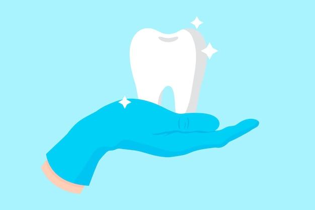 白い、健康な、光沢のある歯を保持している青い手袋の歯科医のベクトル漫画の手。