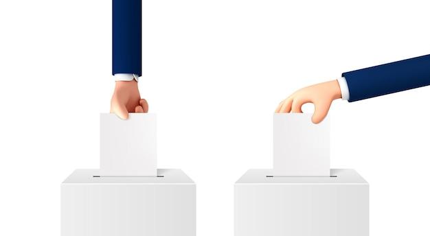 Векторный мультфильм рука положить бумагу в урну. концепция голосования мультяшном стиле, изолированные на белом фоне.