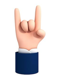 벡터 만화 손은 흰색 배경에 격리된 염소 제스처를 보여줍니다. 바위 기호 손 제스처입니다. 승리와 차가움의 개념입니다.