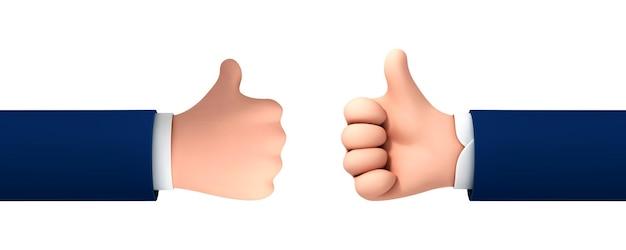 벡터 만화 손은 흰색 배경에 격리된 성공 또는 좋은 피드백을 위해 엄지손가락을 위로 올립니다. 긍정적인 개념과 같은 상징의 벡터 그림.