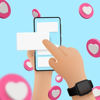 파란색 배경에 격리된 스마트 폰, 스크롤 또는 검색이 있는 벡터 만화 손. 소셜 미디어 배경, 심장 벡터입니다.