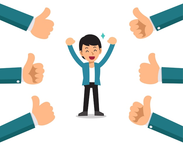 Vector cartoon happy businessman with many thumbs up hands.