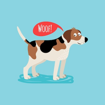 Vector cartoon happy dog