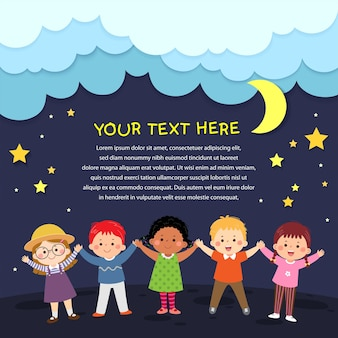 Vector cartoon happy kids holding hands up on night background in paper cut style. place for text.