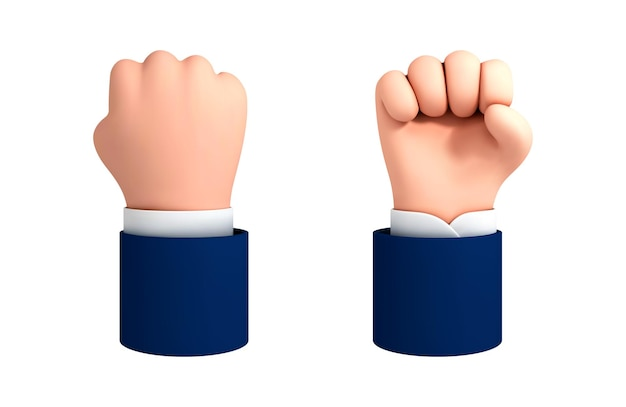 Vector cartoon human hand fist gesture. fight or protest clipart isolated on white background. strength icon